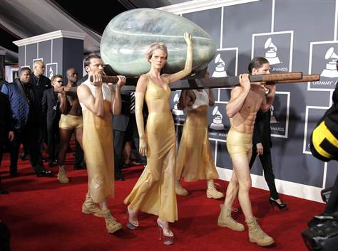 Lady Gaga Arrives To Grammys In A Giant Egg