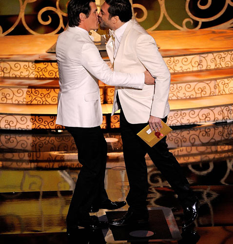Why Did Oscar Producers Cut Away From The Sexy Man Kiss?