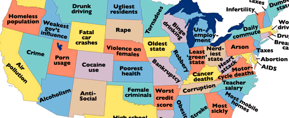 United States of Shame – What Is Your State The Worst At?