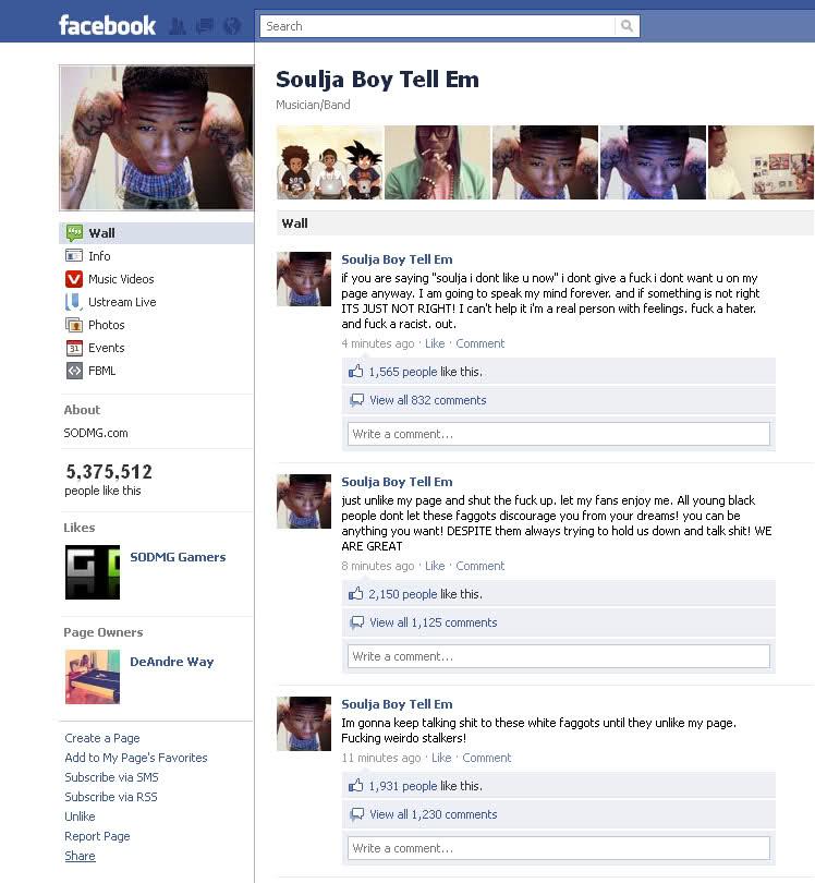 soulja boy homophobia, soulja boy homophobic, soulja boy facebook, soulja boy white faggots