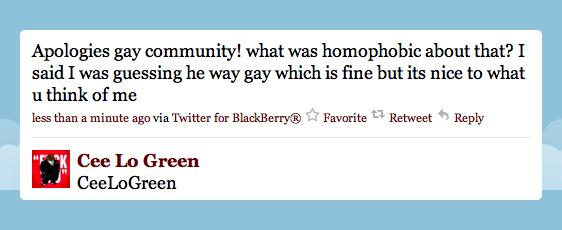 cee lo homophobic, cee lo anti-gay, cee lo gay apology, cee lo calls female gay man, cee lo twitter