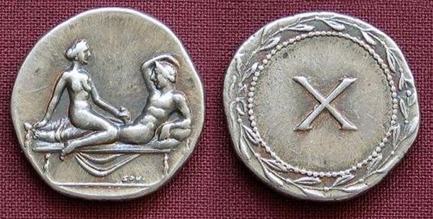 spintria, handjob sex coin, sex coins, prostitution coins