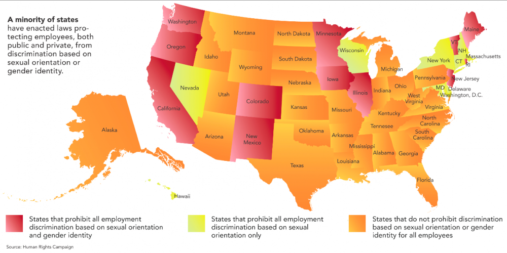 (Dis)United States of LGBT Workplace Discrimination Infographic