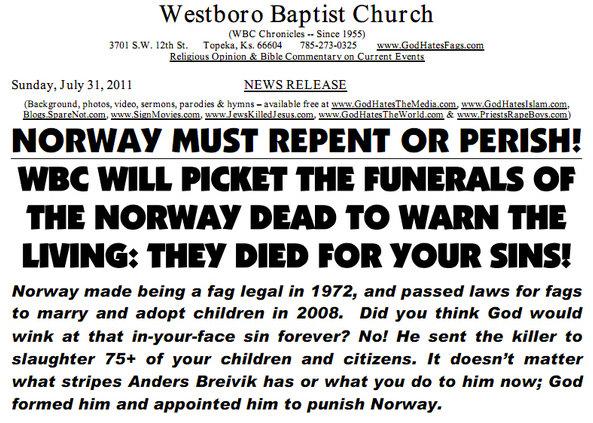 Westboro Baptist Church To Picket Norway Children's Funerals