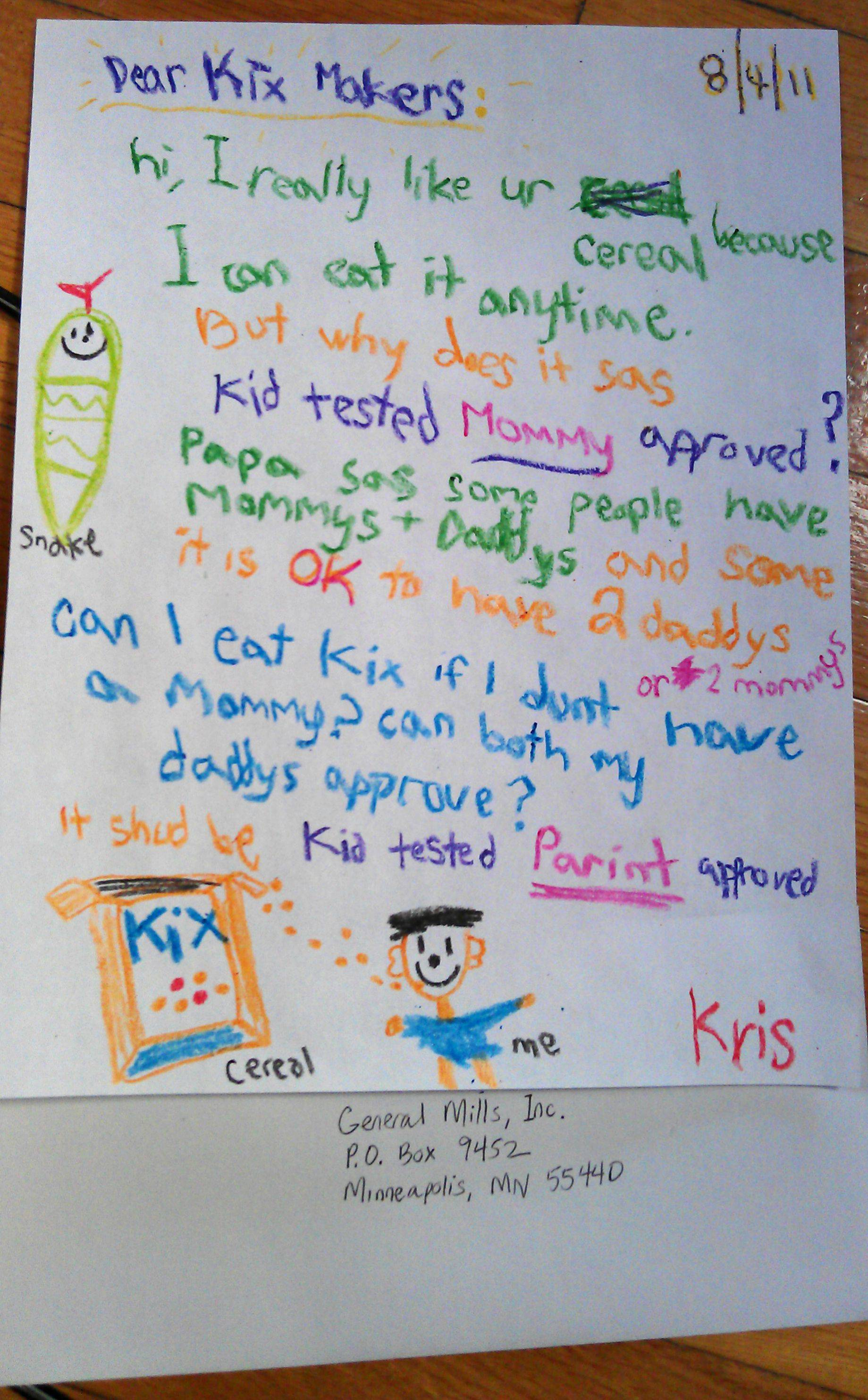 kix gay dads, letter to kix, why does it say mother approved, gay kix mommy approved,
