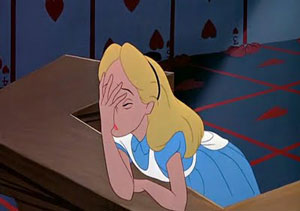 facepalm, woman, embarrassed, alice in wonderland