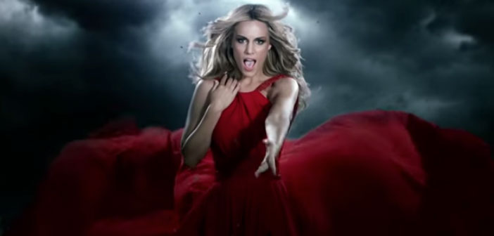 Edurne, Eurovision, 2015, Amanecer, music, video, red dress, clouds, Spain
