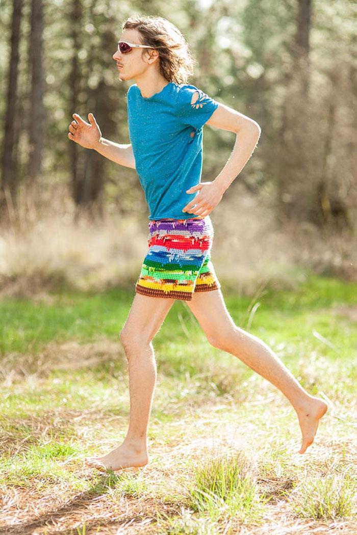 Schuyler Ellers, Lord von Schmitt, Etsy ,crochet, crocheted shorts, knit, colorful, men's, women's