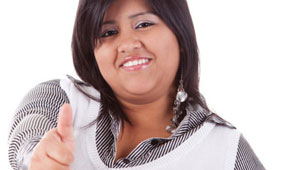 latina woman, brown, person of color, woman, lady, gay blog, thumbs up, bisexual, smile