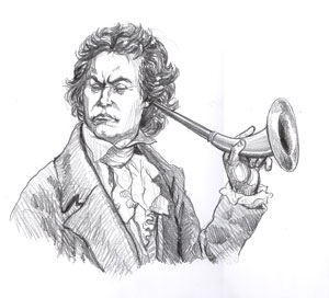 Beethoven, ear horn, deaf, gay blog, drawing