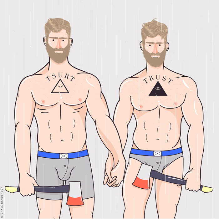 zodiac lumbersexual, gemini, Michael Sanderson, Constellation Park, gay blog, drawings, art, prints, zodiac, horoscope