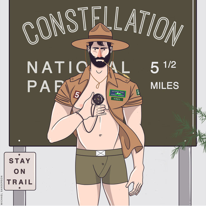 zodiac lumbersexual, virgo, Michael Sanderson, Constellation Park, gay blog, drawings, art, prints, zodiac, horoscope