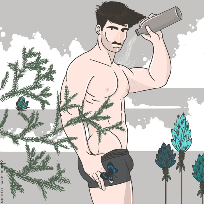 zodiac lumbersexual, aquarius, Michael Sanderson, Constellation Park, gay blog, drawings, art, prints, zodiac, horoscope