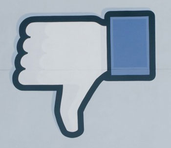 gay blog, lgbt, queer, facebook, woman, hiding, social media, friends, thumbs down, dislike, button