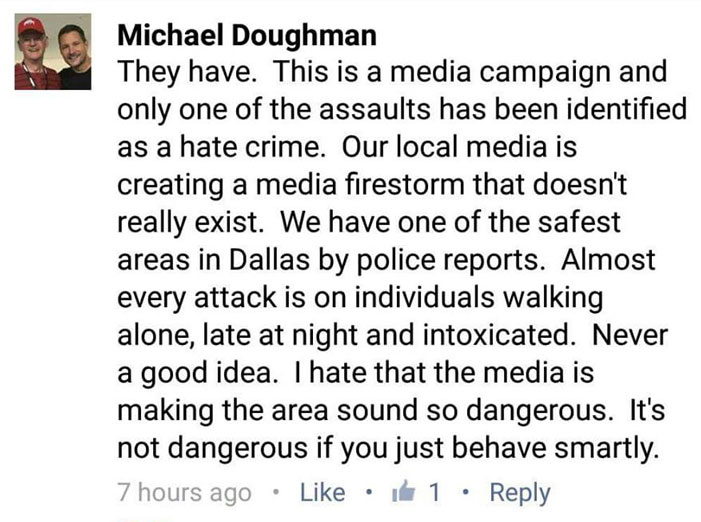 Michael Doughman, Facebook comment, Dallas Tavern Guild, gaybashings, assault