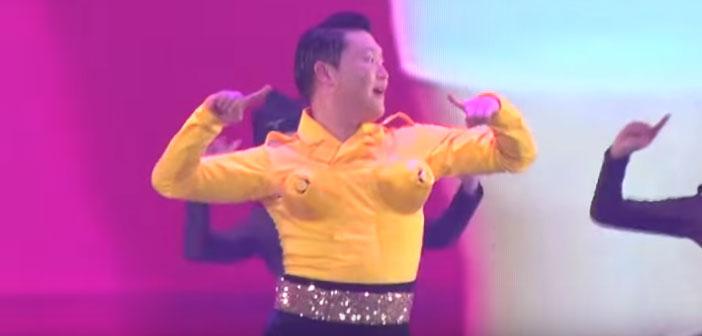 VIDEO: Psy Cross-Dresses, Twerks In A Flame Bra