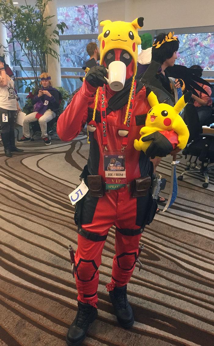 GaymerX, cosplay, video games, geek, costume, Deadpool, superhero, Pikachu
