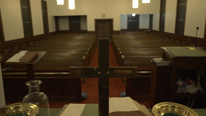 Behind the altar at First United Methodist Church in Grand Saline, Texas.