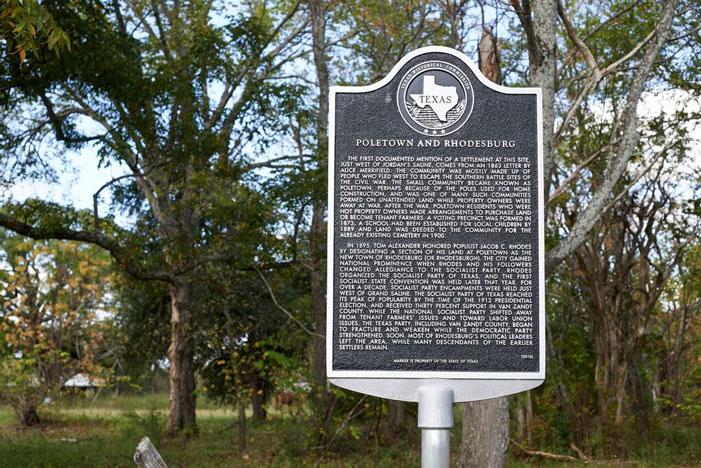 Poletown, Grand Saline, historical marker, woods
