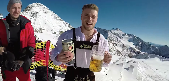 Gus Kenworthy Debuts YouTube Channel with Ski Jumps, Beer-Chugging and Lederhosen (Video)