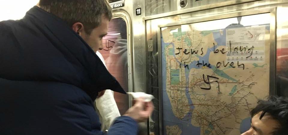 New Yorkers Rally to Remove Horrific Anti-Semitic Graffiti on the Subway
