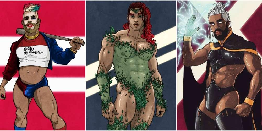 11 Ilustrações de Super-Heroínas e Vilãs Imaginadas Como Homens Gostosos e Sensuais