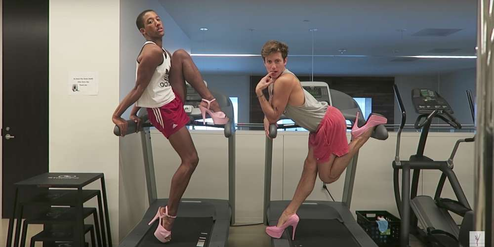You Have to Watch These Boys 'Work on Their Fitness' While Sporting Pink Heels