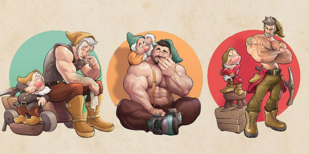 This Artist Has Redrawn Snow White's Seven Dwarfs as Drool-Worthy Pin-Ups