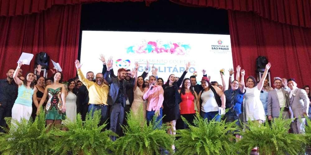 Prefeitura de São Paulo realiza casamento coletivo gay com 39 casais