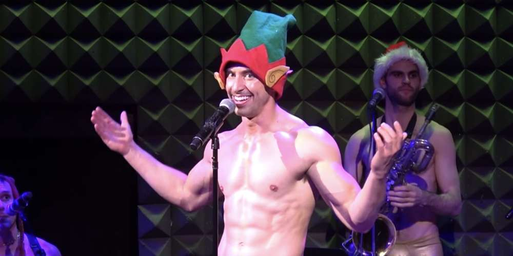 Watch Broadway's Nick Adams Strip Onstage While Singing a Holiday Medley