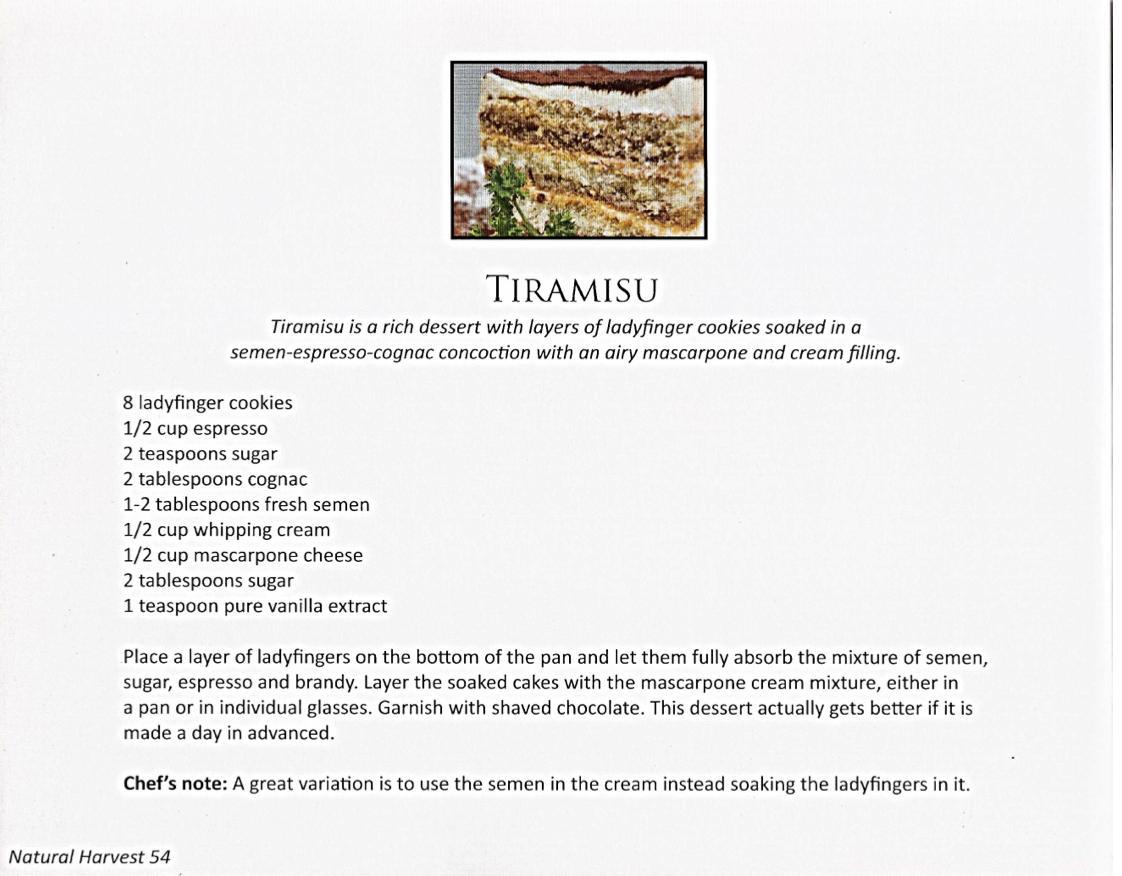 semen-based recipes tiramisu