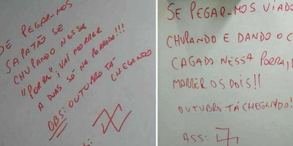 Pichações homofóbicas aparecem em banheiros da Uerj