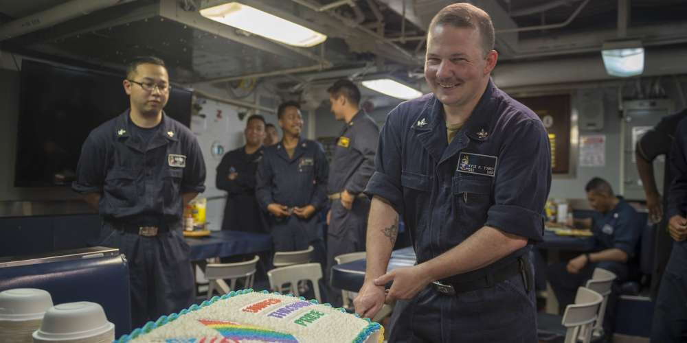 This Sailor Just Baked a Cake for His Navy Ship's Pride Month Celebration