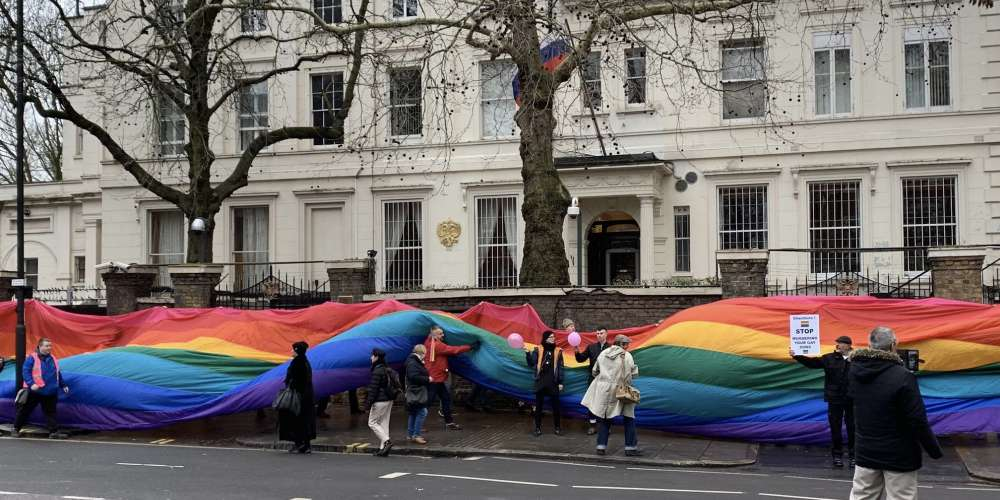 London's Russian Embassy Was Wrapped in Rainbow to Protest Chechnya's Gay Purge
