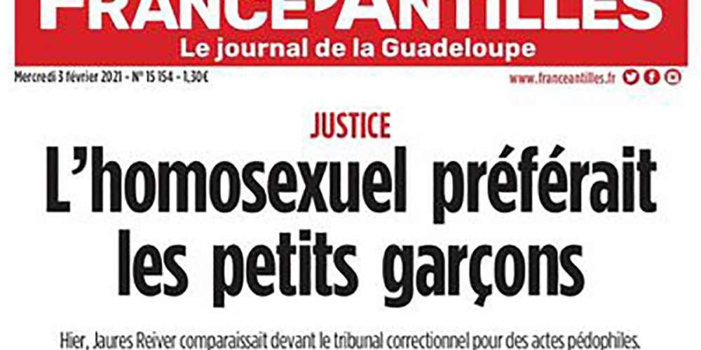 France Antilles s'excuse après sa Une homophobe